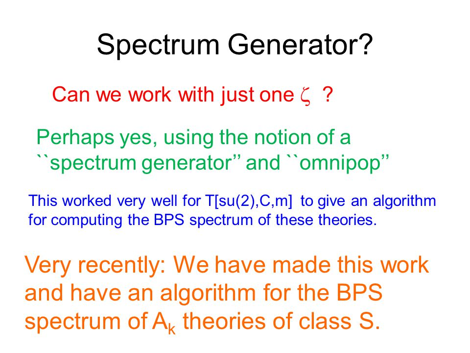 Spectrum Generator. Can we work with just one  .