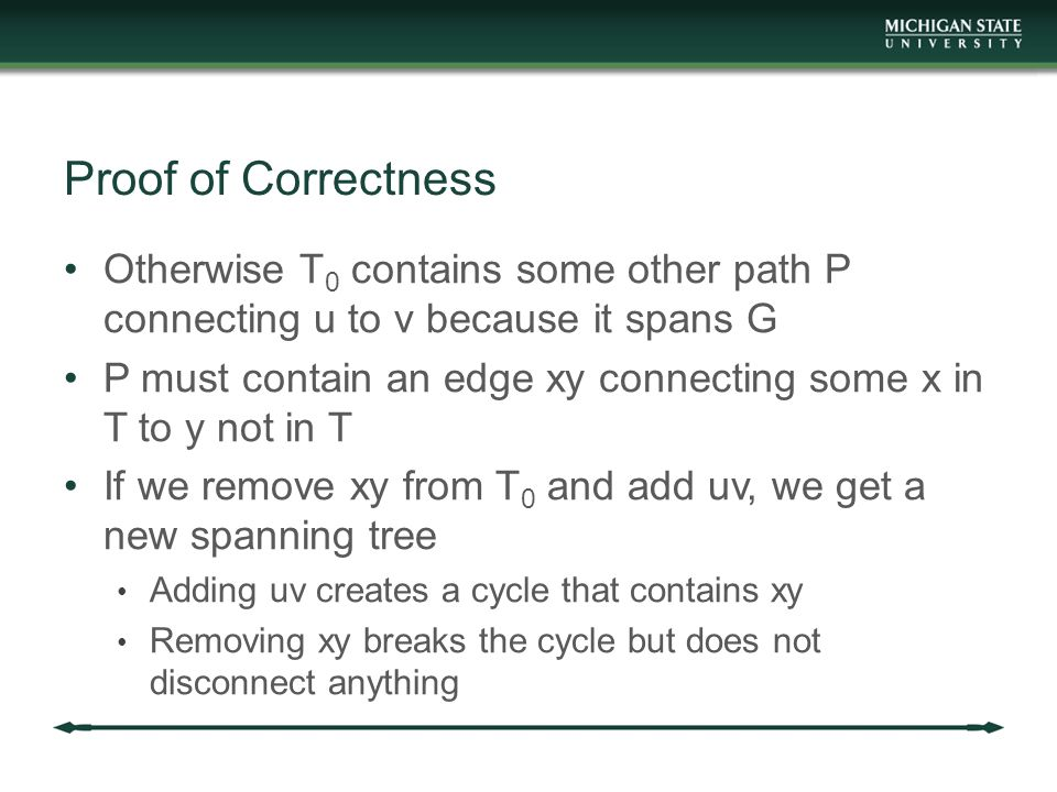 Proof of Correctness Otherwise T 0 contains some other path P connecting u to v because it spans G P must contain an edge xy connecting some x in T to y not in T If we remove xy from T 0 and add uv, we get a new spanning tree Adding uv creates a cycle that contains xy Removing xy breaks the cycle but does not disconnect anything