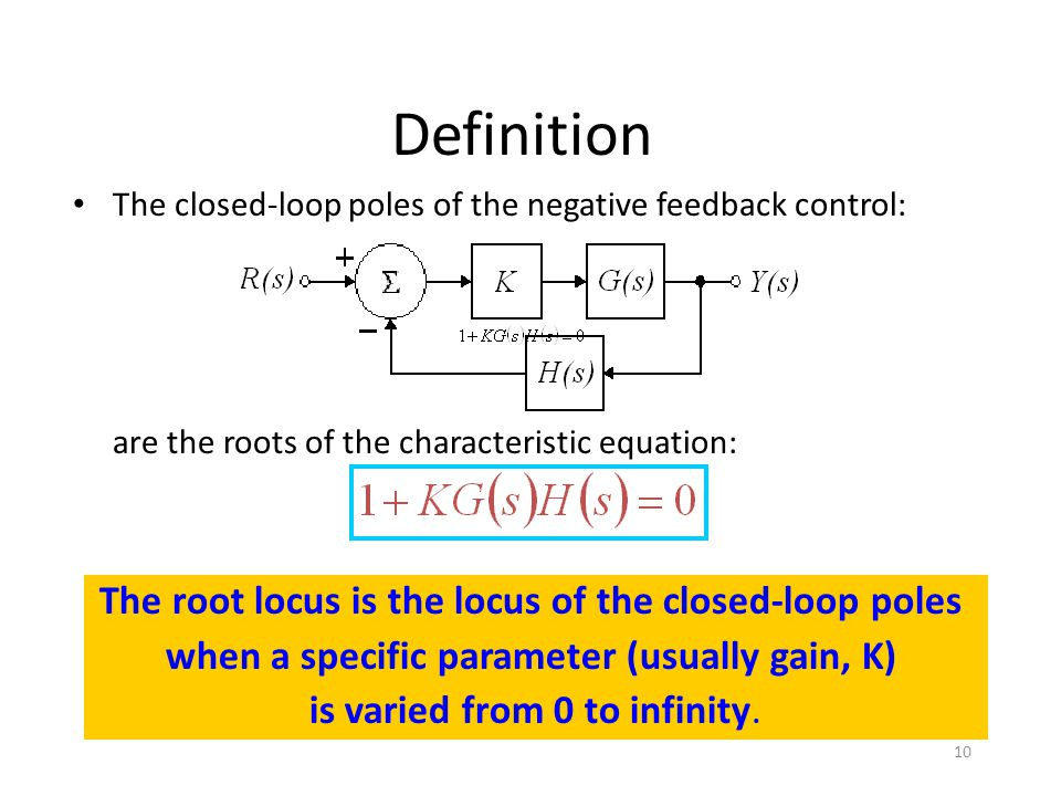 Definition The closed-loop poles of the negative feedback control: are the roots of the characteristic equation: The root locus is the locus of the closed-loop poles when a specific parameter (usually gain, K) is varied from 0 to infinity.