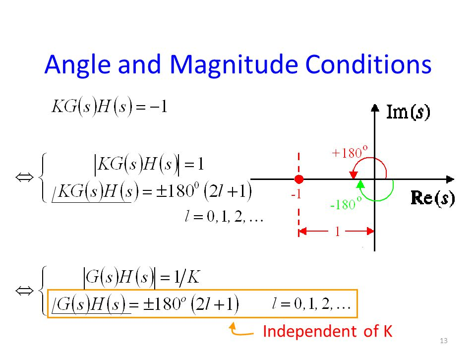 Angle and Magnitude Conditions Independent of K 13