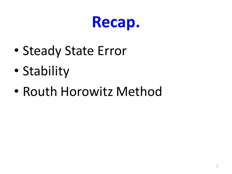 Recap. Steady State Error Stability Routh Horowitz Method 2