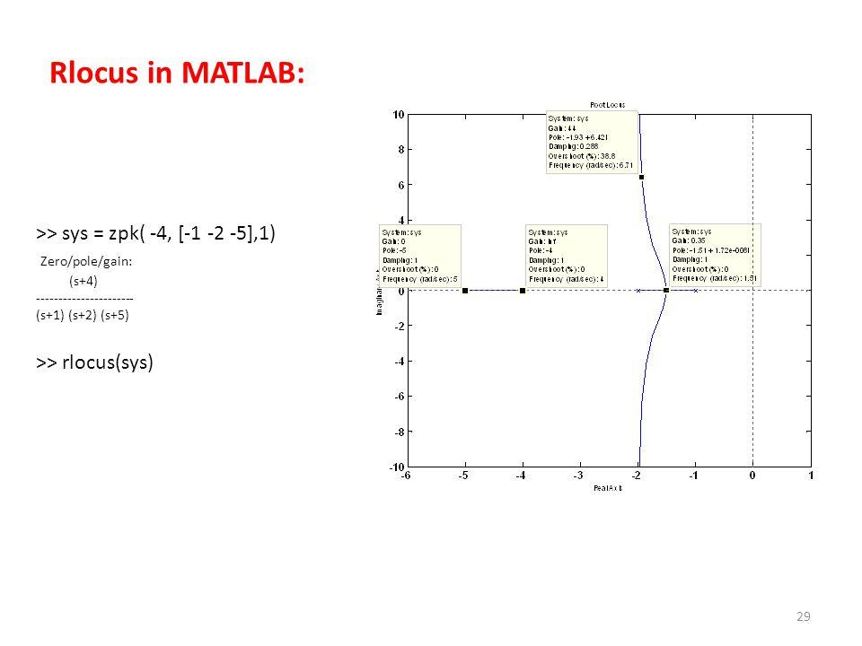 29 >> sys = zpk( -4, [-1 -2 -5],1) Zero/pole/gain: (s+4) ---------------------- (s+1) (s+2) (s+5) >> rlocus(sys) Rlocus in MATLAB:
