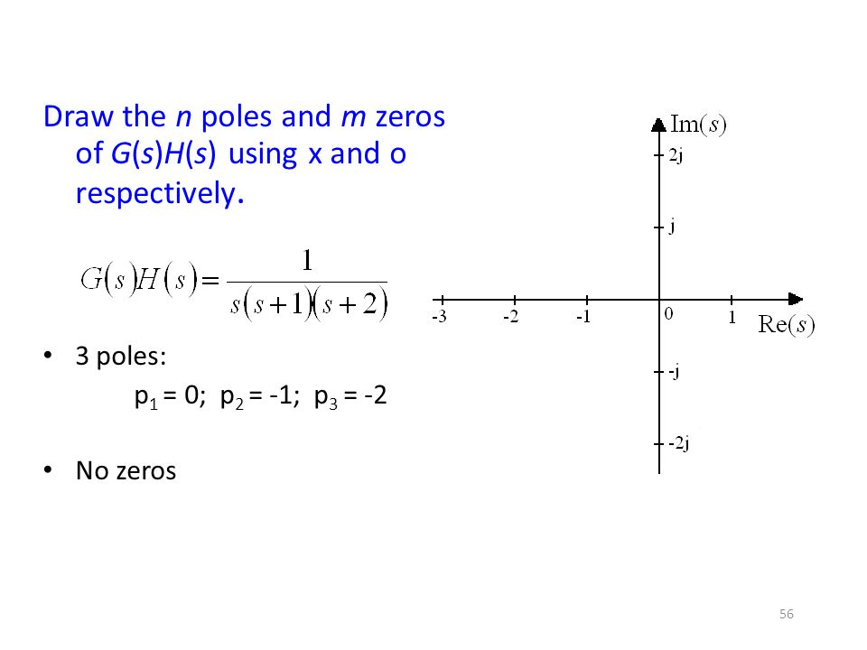 Draw the n poles and m zeros of G(s)H(s) using x and o respectively.