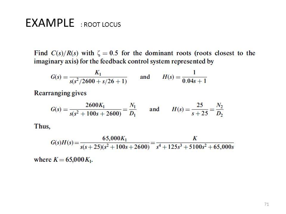 71 EXAMPLE : ROOT LOCUS