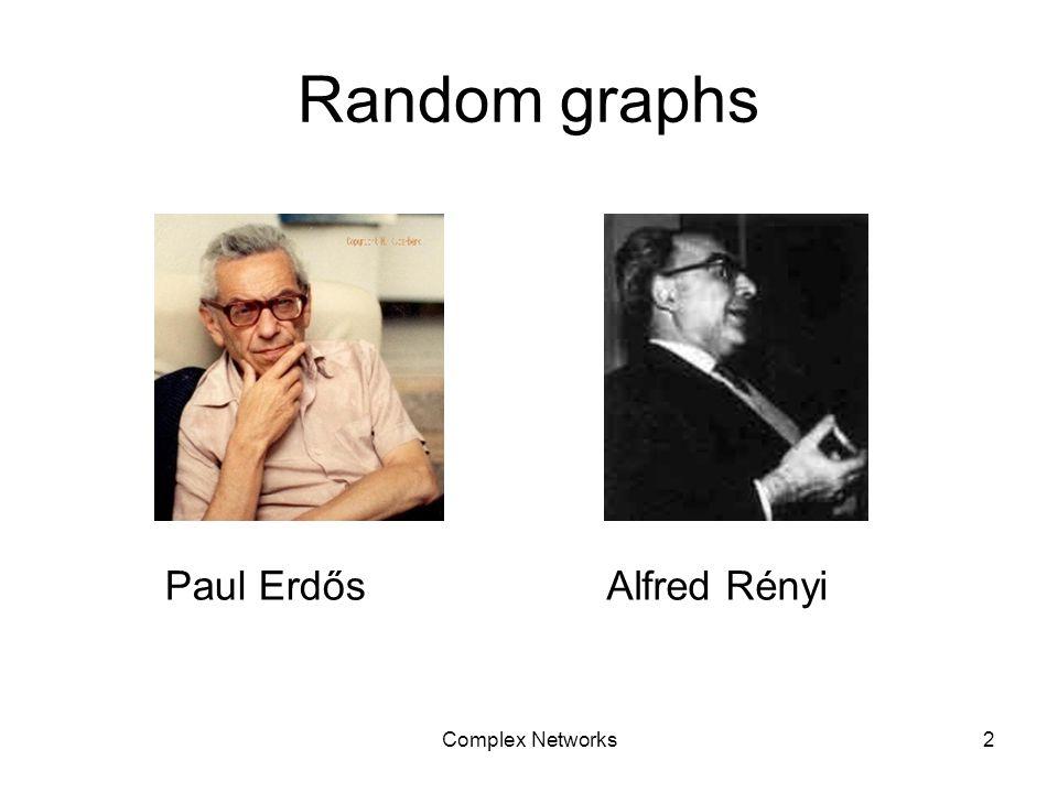 Complex Networks2 Random graphs Paul ErdősAlfred Rényi