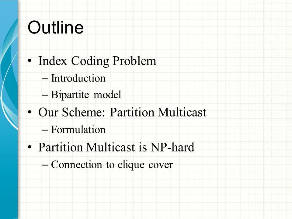 Outline Index Coding Problem – Introduction – Bipartite model Our Scheme: Partition Multicast – Formulation Partition Multicast is NP-hard – Connection to clique cover