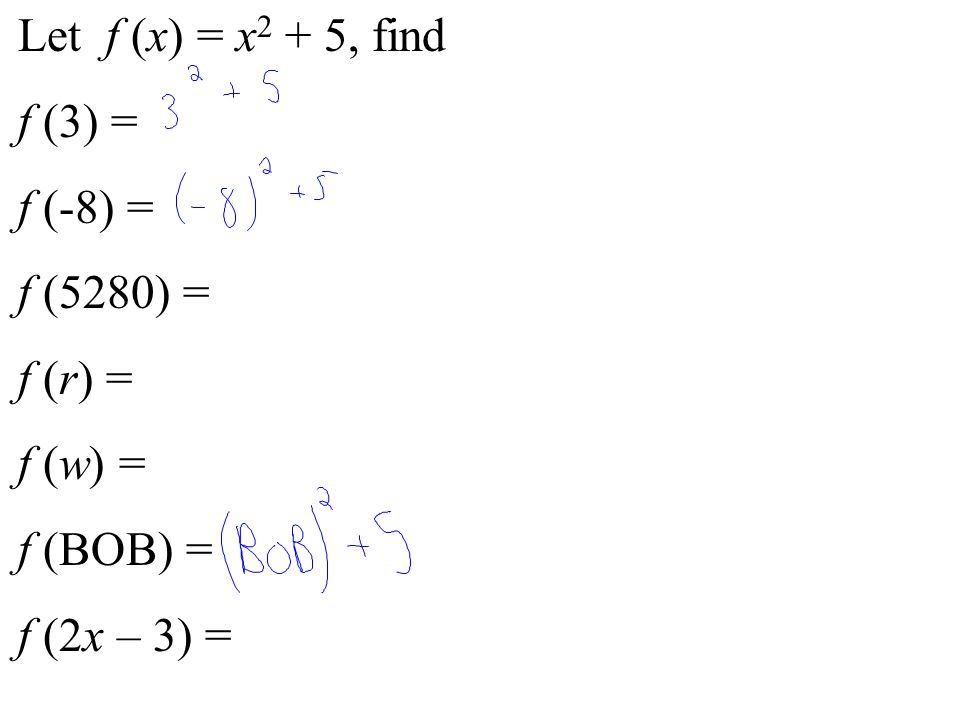 Let f (x) = x 2 + 5, find f (3) = f (-8) = f (5280) = f (r) = f (w) = f (BOB) = f (2x – 3) =