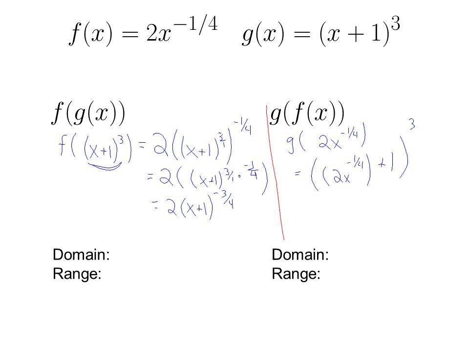 \frac{f(x)}{g(x)} f( Domain: Range: Domain: Range: