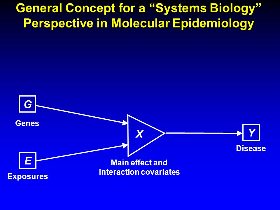 General Concept for a Systems Biology Perspective in Molecular Epidemiology E Exposures G Genes Main effect and interaction covariates Y Disease X