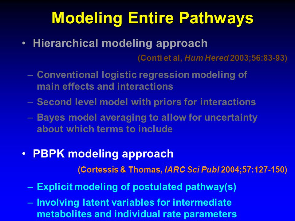 Modeling Entire Pathways Hierarchical modeling approach (Conti et al, Hum Hered 2003;56:83-93) –Conventional logistic regression modeling of main effects and interactions –Second level model with priors for interactions –Bayes model averaging to allow for uncertainty about which terms to include PBPK modeling approach (Cortessis & Thomas, IARC Sci Publ 2004;57:127-150) –Explicit modeling of postulated pathway(s) –Involving latent variables for intermediate metabolites and individual rate parameters