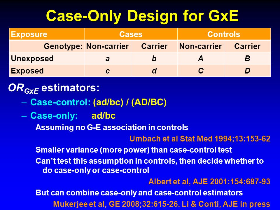 Case-Only Design for GxE ExposureCasesControls Genotype:Non-carrierCarrierNon-carrierCarrier UnexposedabAB ExposedcdCD OR GxE estimators: –Case-control: (ad/bc) / (AD/BC) –Case-only:ad/bc Assuming no G-E association in controls Umbach et al Stat Med 1994;13:153-62 Smaller variance (more power) than case-control test Can't test this assumption in controls, then decide whether to do case-only or case-control Albert et al, AJE 2001:154:687-93 But can combine case-only and case-control estimators Mukerjee et al, GE 2008;32:615-26.
