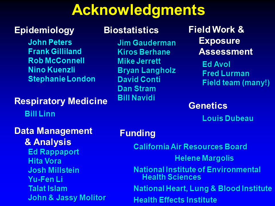 Acknowledgments Epidemiology John Peters Frank Gilliland Rob McConnell Nino Kuenzli Stephanie LondonBiostatistics Jim Gauderman Kiros Berhane Mike Jerrett Bryan Langholz David Conti Dan Stram Bill Navidi Field Work & Exposure Assessment Ed Avol Fred Lurman Field team (many!) Funding California Air Resources Board Helene Margolis National Institute of Environmental Health Sciences National Heart, Lung & Blood Institute Health Effects Institute Data Management & Analysis Ed Rappaport Hita Vora Josh Millstein Yu-Fen Li Talat Islam John & Jassy Molitor Genetics Louis Dubeau Respiratory Medicine Bill Linn