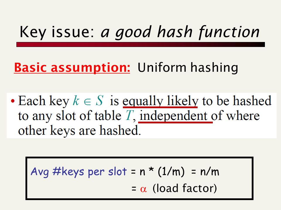 Key issue: a good hash function Basic assumption: Uniform hashing Avg #keys per slot = n * (1/m) = n/m =  (load factor)