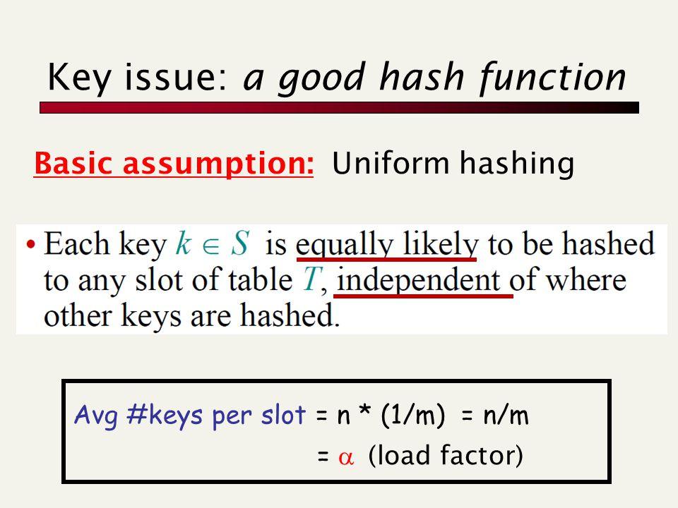 Key issue: a good hash function Basic assumption: Uniform hashing Avg #keys per slot = n * (1/m) = n/m =  (load factor)