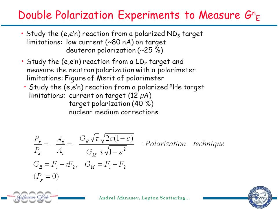 Andrei Afanasev, Lepton Scattering… Double Polarization Experiments to Measure G n E Study the (e,e'n) reaction from a polarized ND 3 target limitations: low current (~80 nA) on target deuteron polarization (~25 %) Study the (e,e'n) reaction from a LD 2 target and measure the neutron polarization with a polarimeter limitations: Figure of Merit of polarimeter Study the (e,e'n) reaction from a polarized 3 He target limitations:current on target (12 µA) target polarization (40 %) nuclear medium corrections