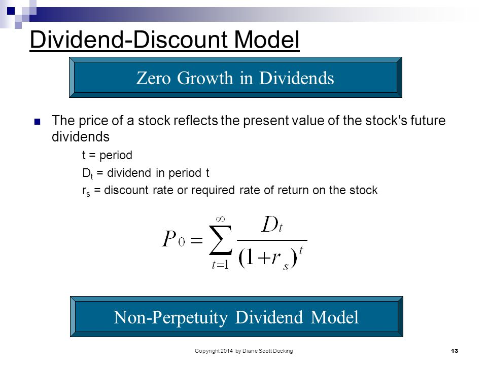 Copyright 2014 by Diane Scott Docking 13 Dividend-Discount Model The price of a stock reflects the present value of the stock s future dividends t = period D t = dividend in period t r s = discount rate or required rate of return on the stock Zero Growth in Dividends Non-Perpetuity Dividend Model
