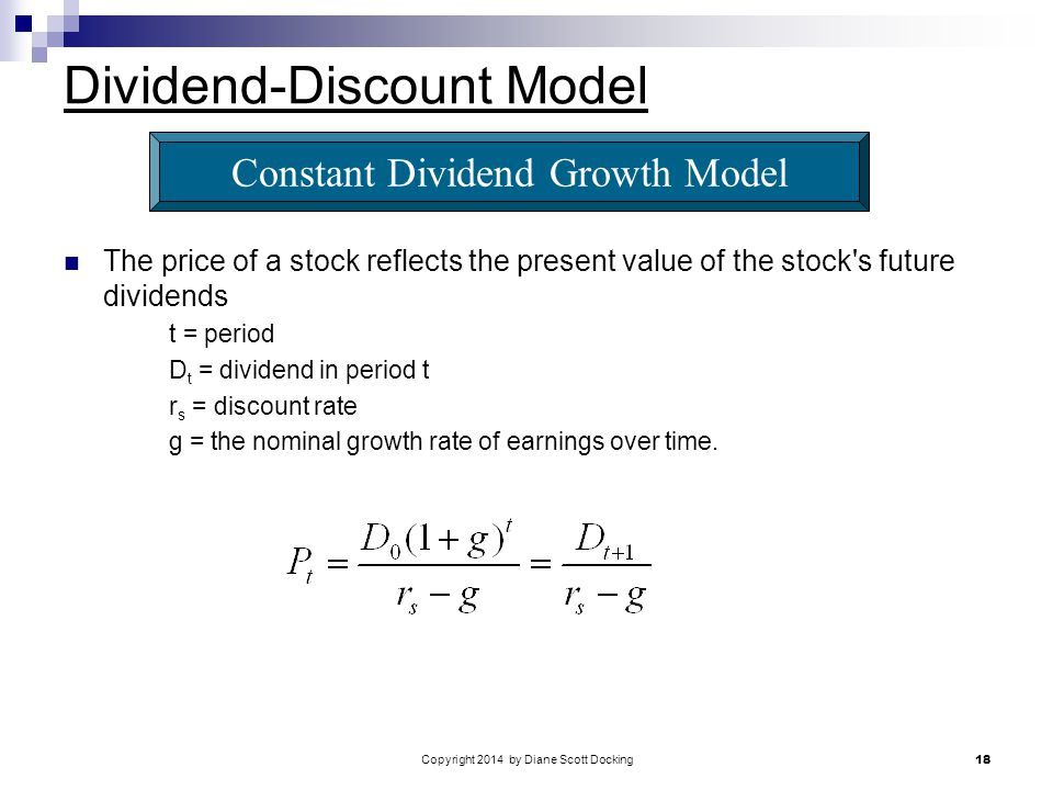 Copyright 2014 by Diane Scott Docking 18 Dividend-Discount Model The price of a stock reflects the present value of the stock s future dividends t = period D t = dividend in period t r s = discount rate g = the nominal growth rate of earnings over time.