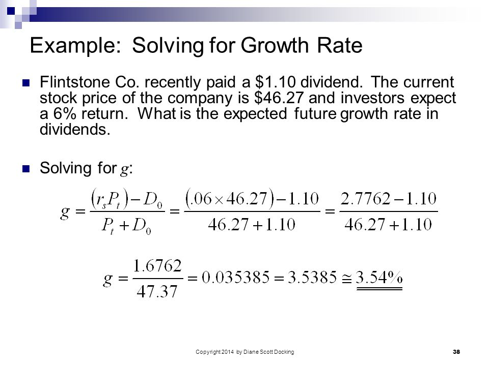 Copyright 2014 by Diane Scott Docking 38 Example: Solving for Growth Rate Flintstone Co.