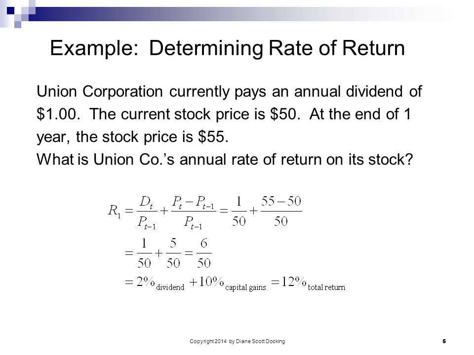 Copyright 2014 by Diane Scott Docking 5 Example: Determining Rate of Return Union Corporation currently pays an annual dividend of $1.00.