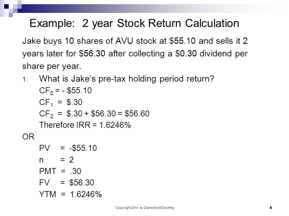 Copyright 2014 by Diane Scott Docking 8 Example: 2 year Stock Return Calculation Jake buys 10 shares of AVU stock at $55.10 and sells it 2 years later for $56.30 after collecting a $0.30 dividend per share per year.
