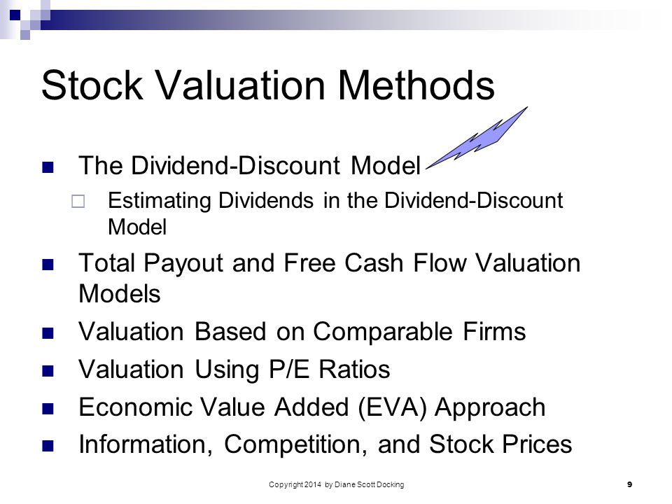 Copyright 2014 by Diane Scott Docking 9 Stock Valuation Methods The Dividend-Discount Model  Estimating Dividends in the Dividend-Discount Model Total Payout and Free Cash Flow Valuation Models Valuation Based on Comparable Firms Valuation Using P/E Ratios Economic Value Added (EVA) Approach Information, Competition, and Stock Prices