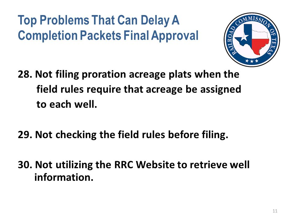 Top Problems That Can Delay A Completion Packets Final Approval 28.