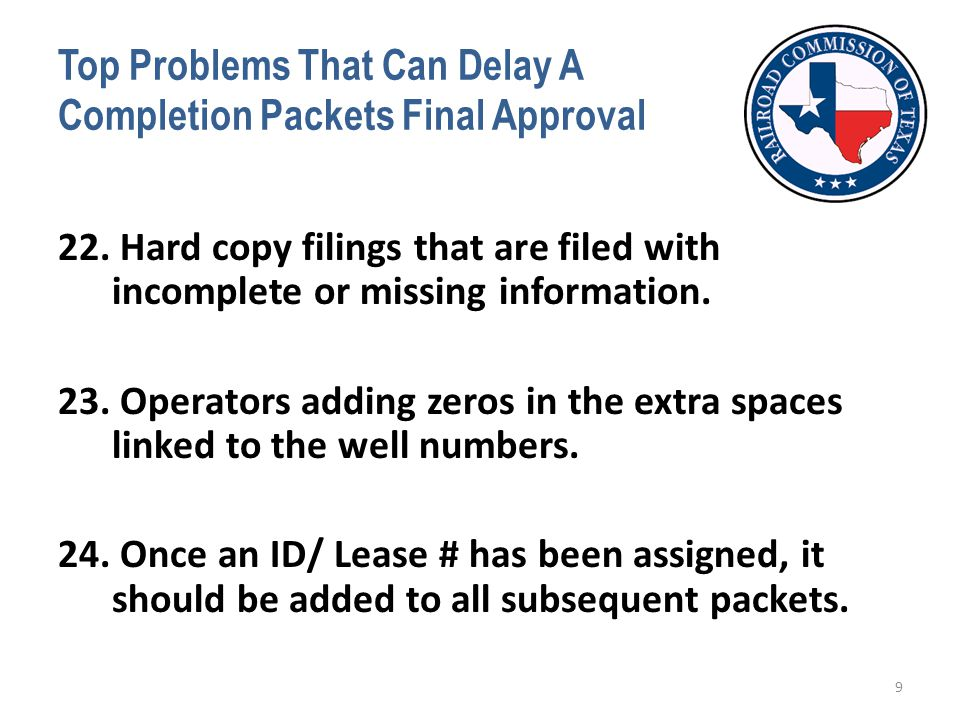 Top Problems That Can Delay A Completion Packets Final Approval 22.