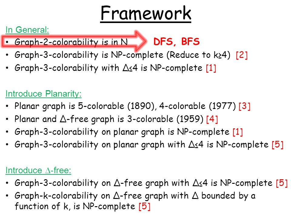 Graph-k-colorability (∆?) Graph-k-colorability on ∆-free graph with ∆ bounded by a function of k, is NP-complete [5] A randomized polynomial time algorithm (Karger, Motwani Sudan, 1998 [8] ) gives min{O(∆ 1/3 log 1/2 ∆logn), O(n 1/4 log 1/2 n)} approximation on 3-colorable graph; and min{O(∆ 1-2/klog1/2 ∆logn), O(n1-3/(k+1)log1/2n)} approximation on k-colorable graph.