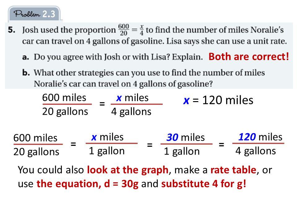 600 miles 20 gallons = x = 120 miles 600 miles 20 gallons = x miles 4 gallons x miles 1 gallon 30 miles 1 gallon = 120 miles 4 gallons = Both are correct.