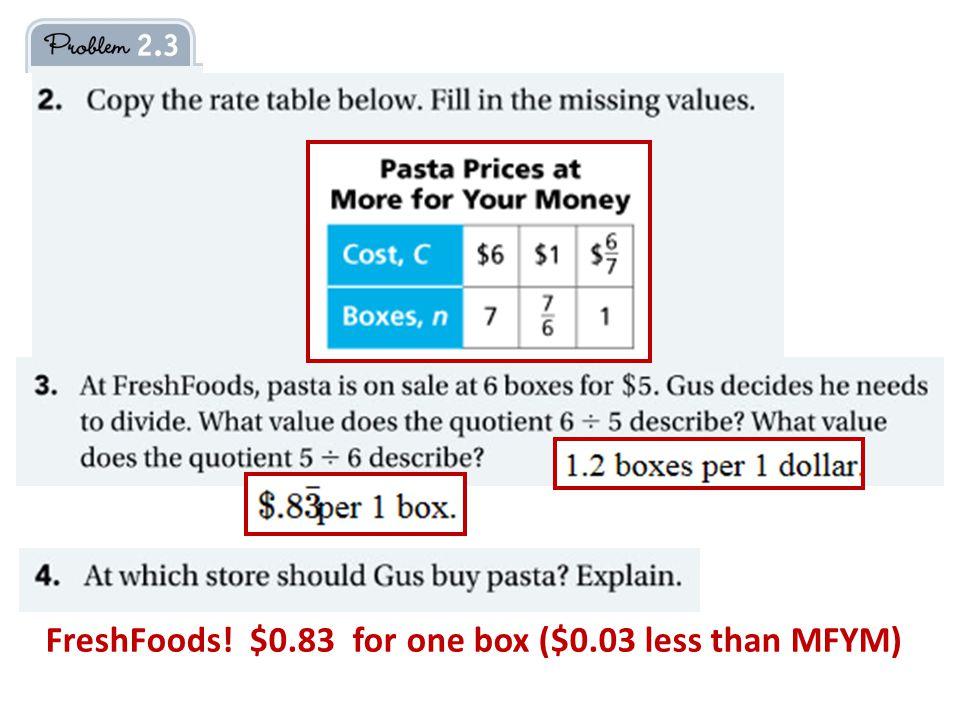 FreshFoods! $0.83 for one box ($0.03 less than MFYM)