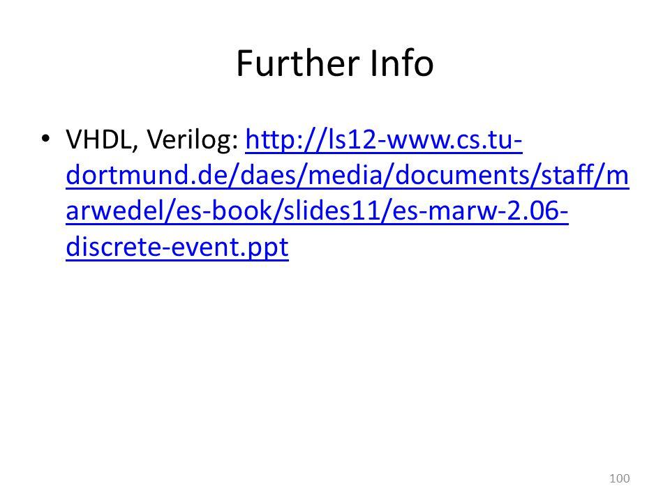 Further Info VHDL, Verilog: http://ls12-www.cs.tu- dortmund.de/daes/media/documents/staff/m arwedel/es-book/slides11/es-marw-2.06- discrete-event.ppth