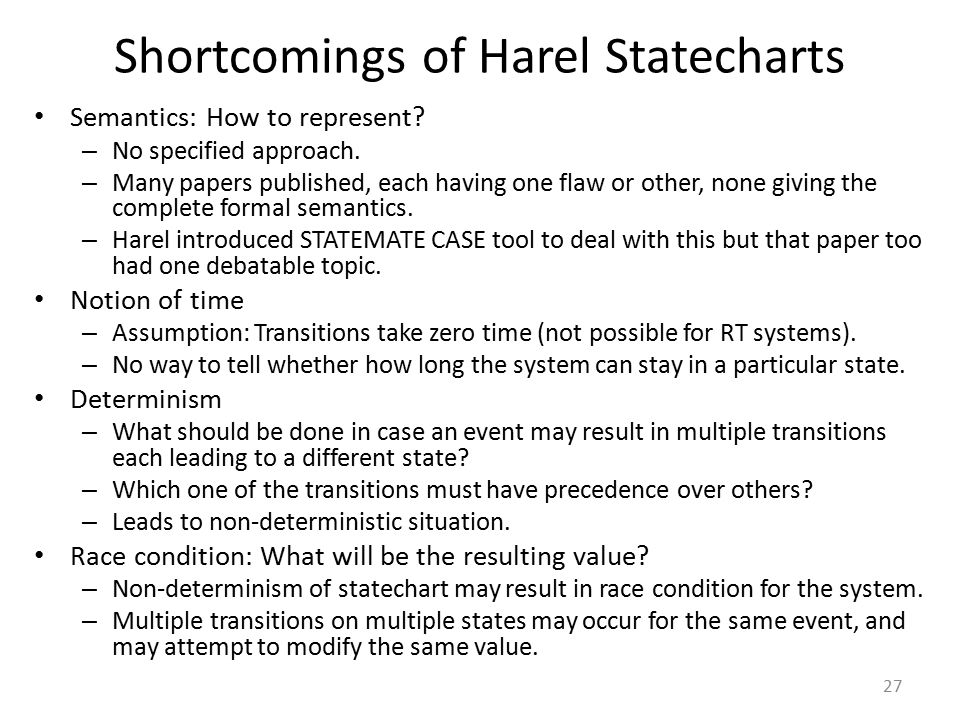 Shortcomings of Harel Statecharts Semantics: How to represent? – No specified approach. – Many papers published, each having one flaw or other, none g
