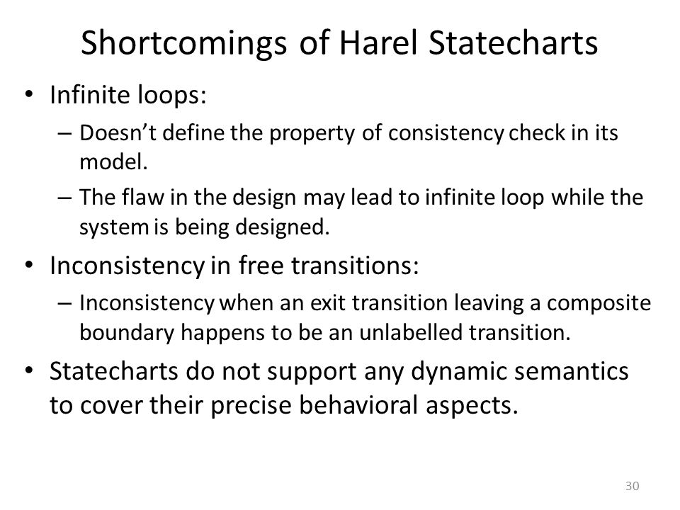 Shortcomings of Harel Statecharts Infinite loops: – Doesn't define the property of consistency check in its model. – The flaw in the design may lead t