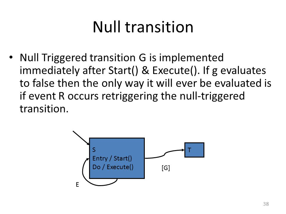 Null transition Null Triggered transition G is implemented immediately after Start() & Execute(). If g evaluates to false then the only way it will ev