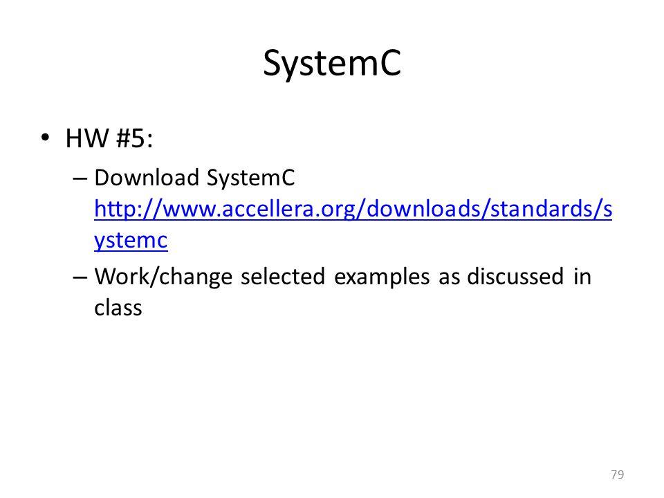 SystemC HW #5: – Download SystemC http://www.accellera.org/downloads/standards/s ystemc http://www.accellera.org/downloads/standards/s ystemc – Work/c
