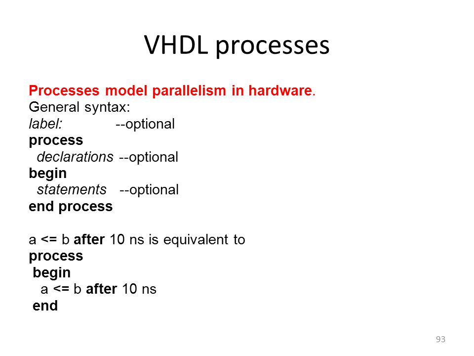 VHDL processes Processes model parallelism in hardware. General syntax: label: --optional process declarations --optional begin statements --optional