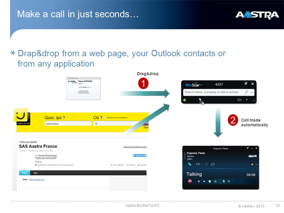 © Aastra – 2013 Drap&drop from a web page, your Outlook contacts or from any application 13 1 2 Drag&drop Call made automatically Aastra BluStar for P
