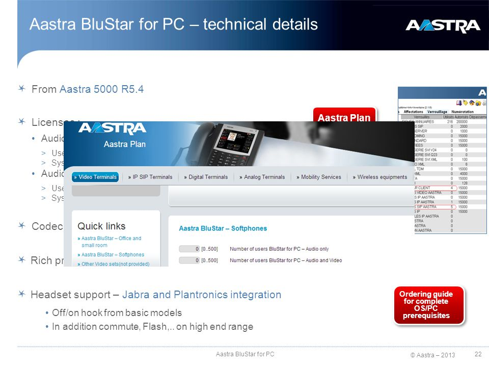 © Aastra – 2013 Aastra BluStar for PC – technical details From Aastra 5000 R5.4 Licenses : Audio only mode: >User licenses BluStar Client and Audio Aa