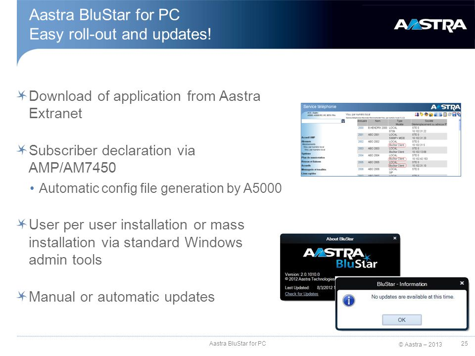 © Aastra – 2013 Download of application from Aastra Extranet Subscriber declaration via AMP/AM7450 Automatic config file generation by A5000 User per