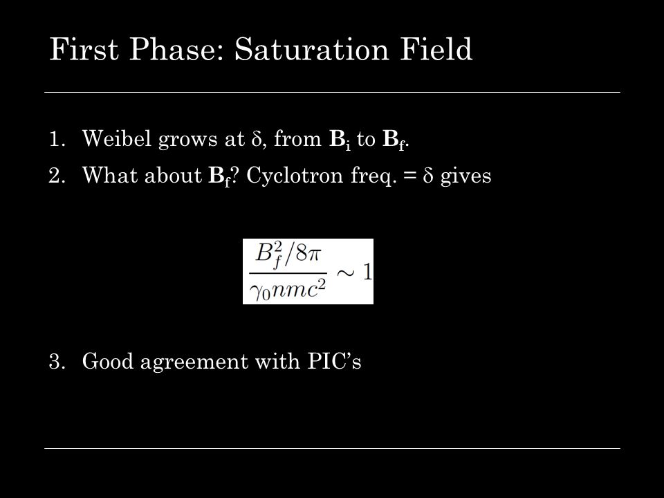 First Phase: Saturation Field 1.Weibel grows at , from B i to B f. 2.What about B f ? Cyclotron freq. =  gives 3.Good agreement with PIC's