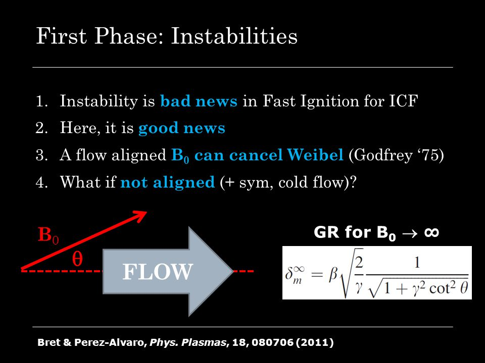 First Phase: Instabilities 1.Instability is bad news in Fast Ignition for ICF 2.Here, it is good news 3.A flow aligned B 0 can cancel Weibel (Godfrey