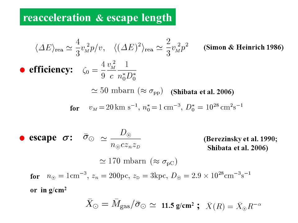 reacceleration & escape length (Simon & Heinrich 1986) ● efficiency: (Shibata et al.