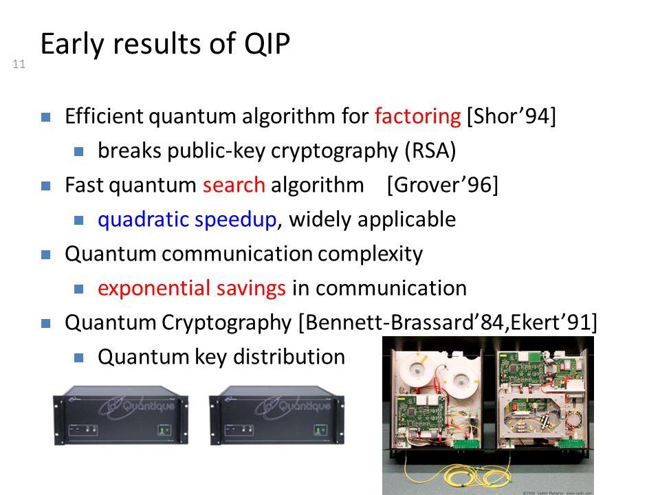 11 Efficient quantum algorithm for factoring [Shor'94] breaks public-key cryptography (RSA) Fast quantum search algorithm [Grover'96] quadratic speedu