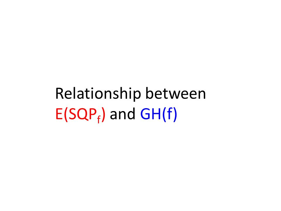 Relationship between E(SQP f ) and GH(f)