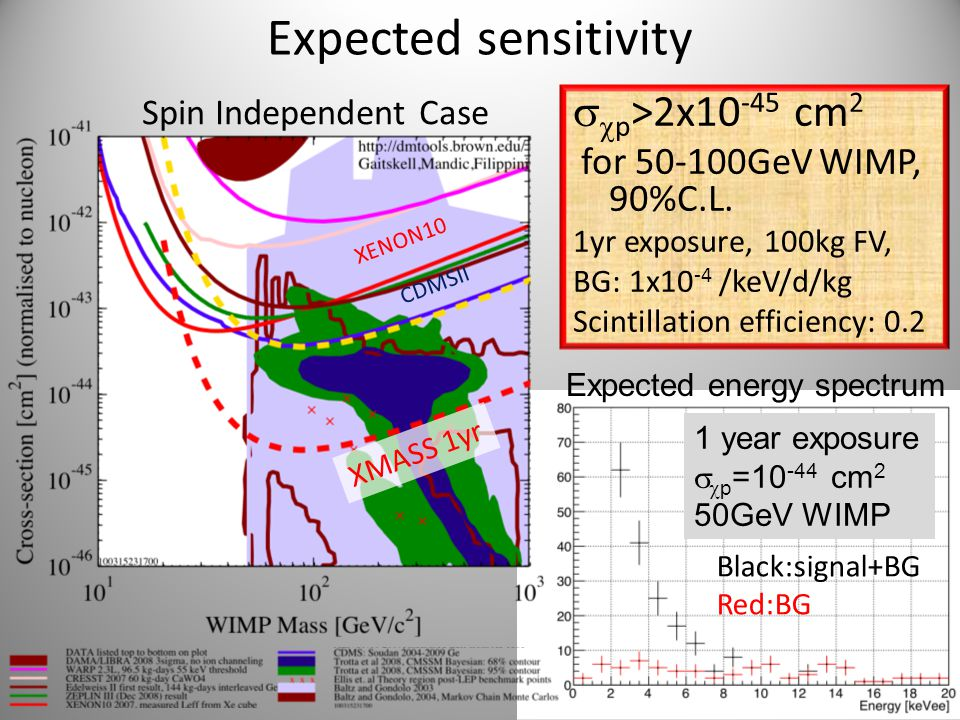 Expected sensitivity   p >2x10 -45 cm 2 for 50-100GeV WIMP, 90%C.L. 1yr exposure, 100kg FV, BG: 1x10 -4 /keV/d/kg Scintillation efficiency: 0.2 XENO