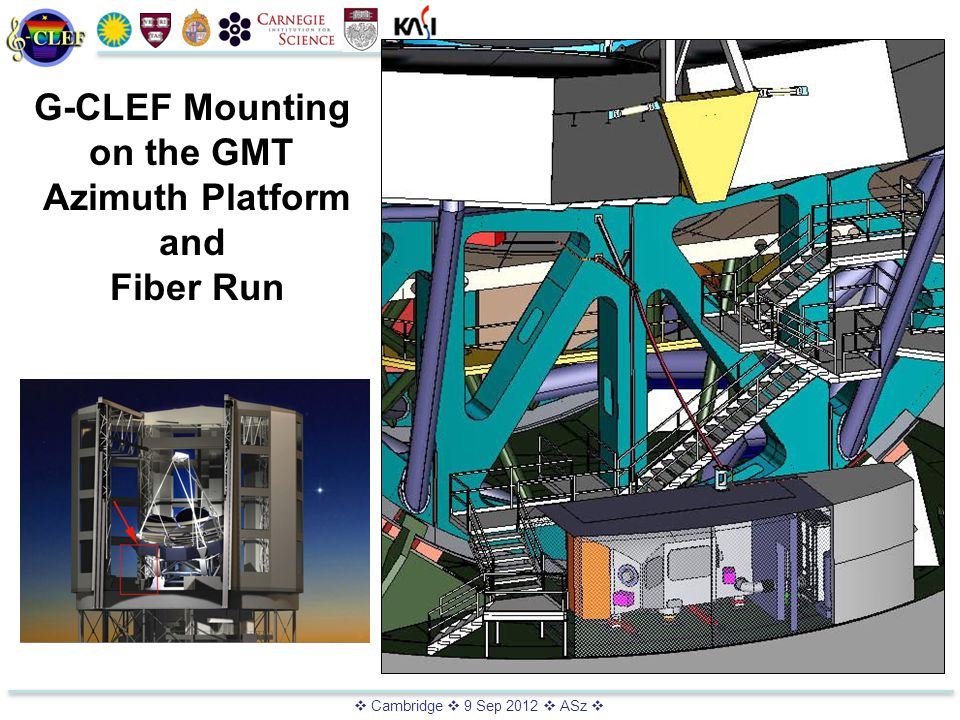  Cambridge  9 Sep 2012  ASz  G-CLEF Mounting on the GMT Azimuth Platform and Fiber Run