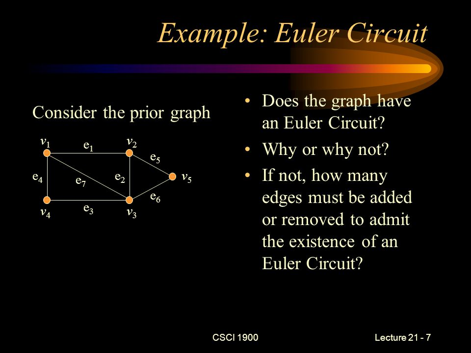 CSCI 1900 Lecture 21 - 18 Key Concepts Summary Walks, paths, and circuits Euler Circuits –Application: Seven Bridges of Königsberg Hamiltonian Circuits –Application: Traveling Salesman problem Reading for next time –No further readings