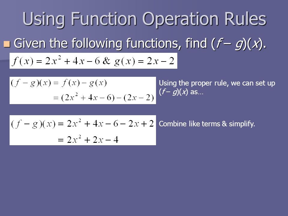 Using Function Operation Rules Given the following functions, find (f – g)(x).