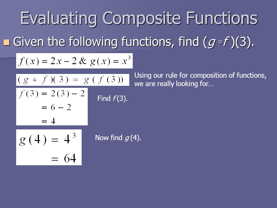 Evaluating Composite Functions Given the following functions, find (g ◦f )(3).