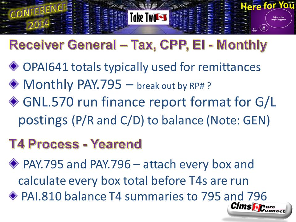 OPAI641 totals typically used for remittances Monthly PAY.795 – break out by RP# ? GNL.570 run finance report format for G/L postings (P/R and C/D) to